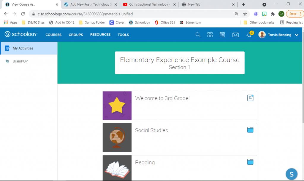 Elementary Experience Screenshot in Schoology